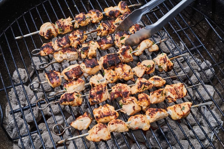 chicken kebabs on the grill