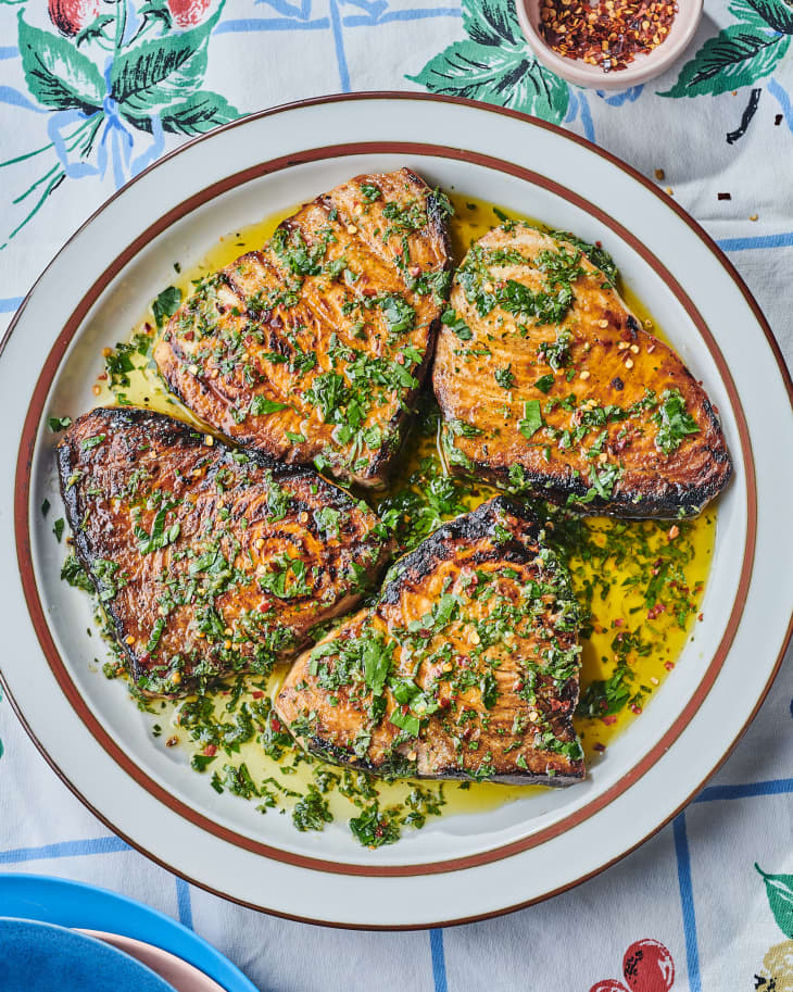 grilled swordfish on a plate