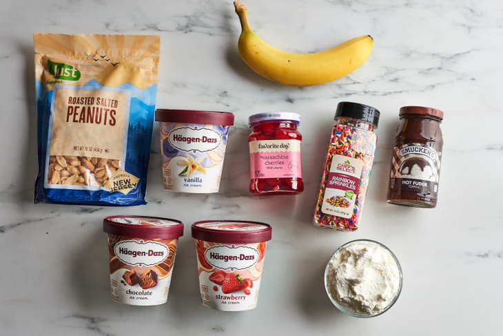 ingredients to banana split on a table