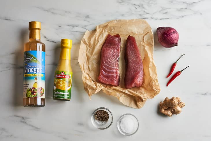 ingredients to kinilaw on a cutting board