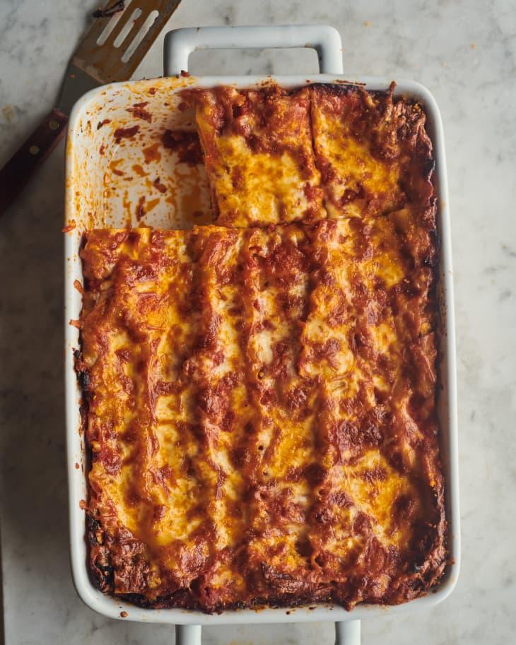 Spinach lasagna in baking dish.