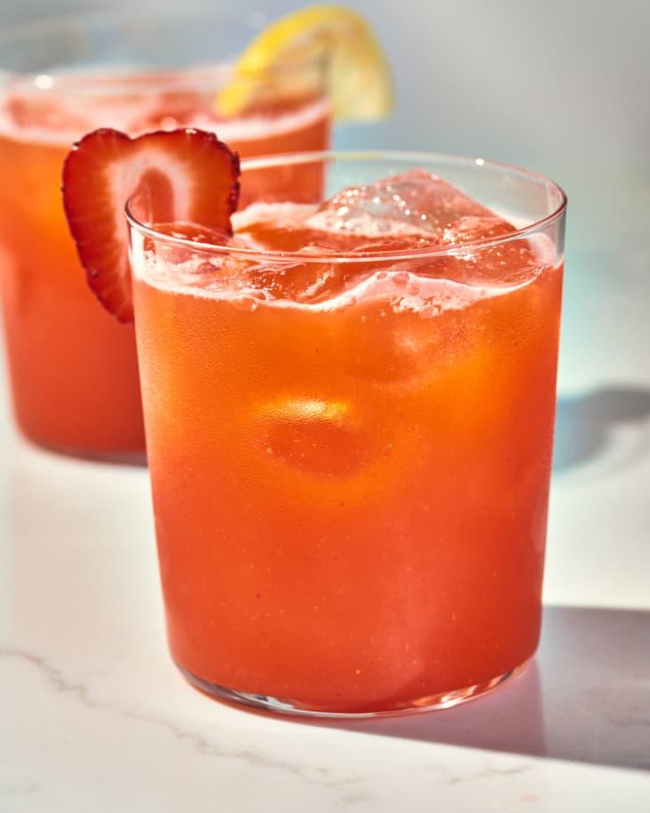 strawberry lemonade in glasses