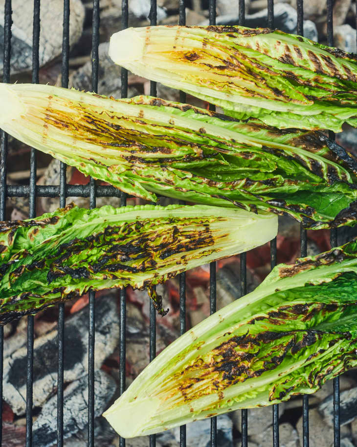 Romaine on grill.
