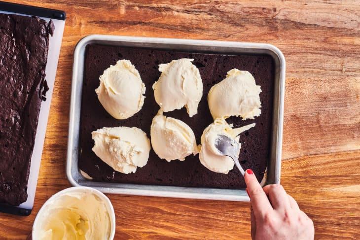 ice cream scoops on cake