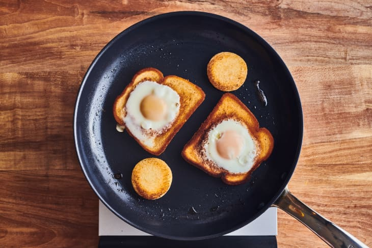 eggs in a basket in cast iron pan