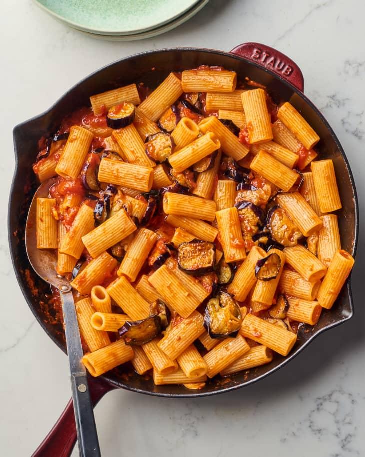pasta in cast iron pan