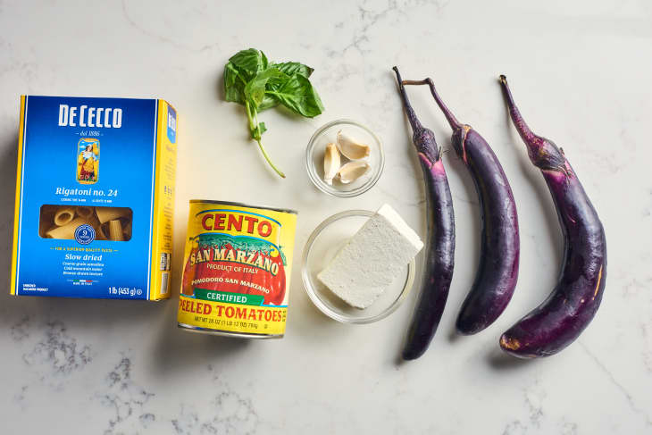 ingredients to pasta alla norma on table
